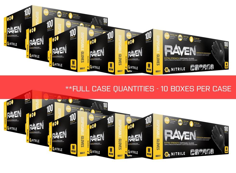 SAS Safety 66517 Raven PF Nitrile - 6 mil-Medium - 10 Boxes per Case