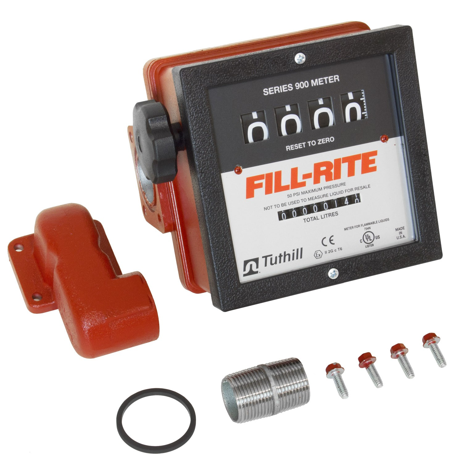 "Fill-Rite 901CLMK300V 4 Wheel, 1"" Mechanical Meter in package Pipe fittings for 300V Series Pumps (6-40 GPM)"