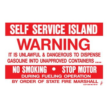"D-950 Fueling Instructions Decal ""Self Service Island"""