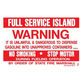 "D-951 Fueling Instructions Decal ""Full Service Island"""