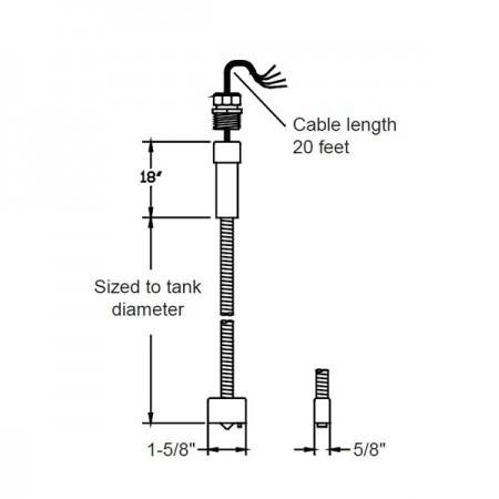 Omntec BX-PDWF-8 Dry Double-Wall Fiberglass Tank Sensor
