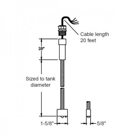 Omntec BX-PDWF-6 Dry Double-Wall Fiberglass Tank Sensor