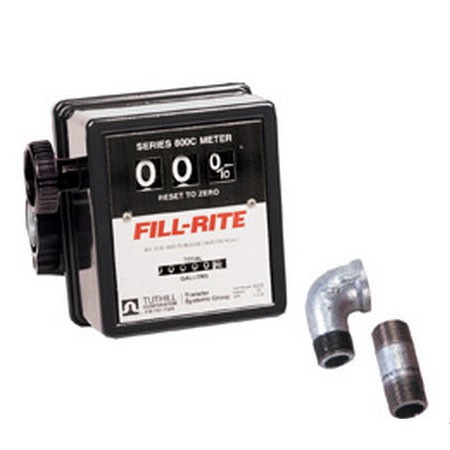 "Fill-Rite 807CMK - 3/4"" 3 Wheel Flow Meter w/Pipe Fittings (5-20 GPM)"
