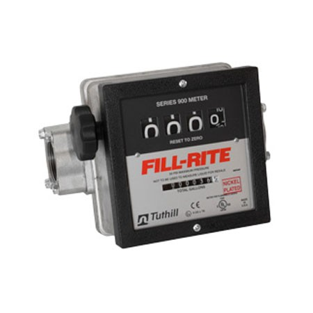 "Fill-Rite 901CLN1.5 - 4 Wheel. 1.5"" Mechanical Meter, Nickel Plated for Non-Potable Water and Other Fluids (23-151 LPM)"
