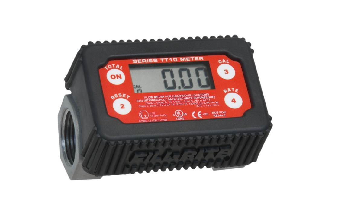 "Fill-Rite TT10ABC 1"" BSPP Nickel Plated In-Line Digital Turbine Meter (2 - 35 GPM)"