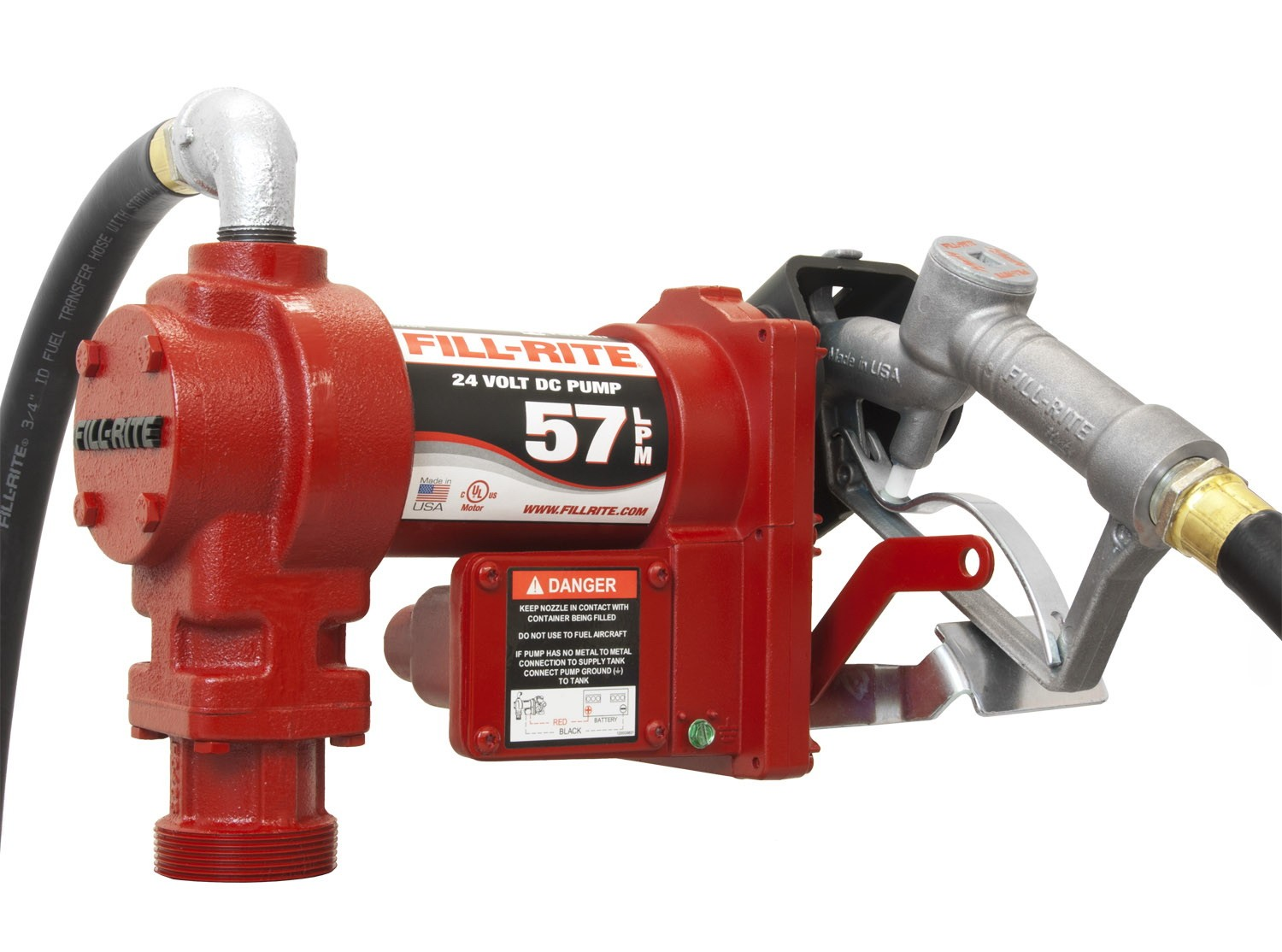 "Fill-Rite FR2410GEA 24V DC Fuel Transfer Pump with 3/4"" Automatic Nozzle (15 GPM)"