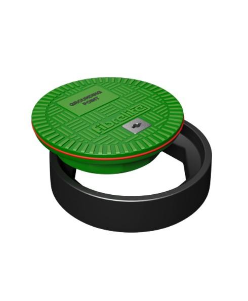 OPW FL120-GP Fibrelite 12'' Dia. Green Flat Sealed Composite Cover w/ Grounding Point ID Logo & Frame
