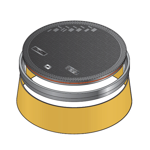 "Fibrelite FL120BLACK-SK12 12"" Black Flat Composite Manhole Cover Bonded"