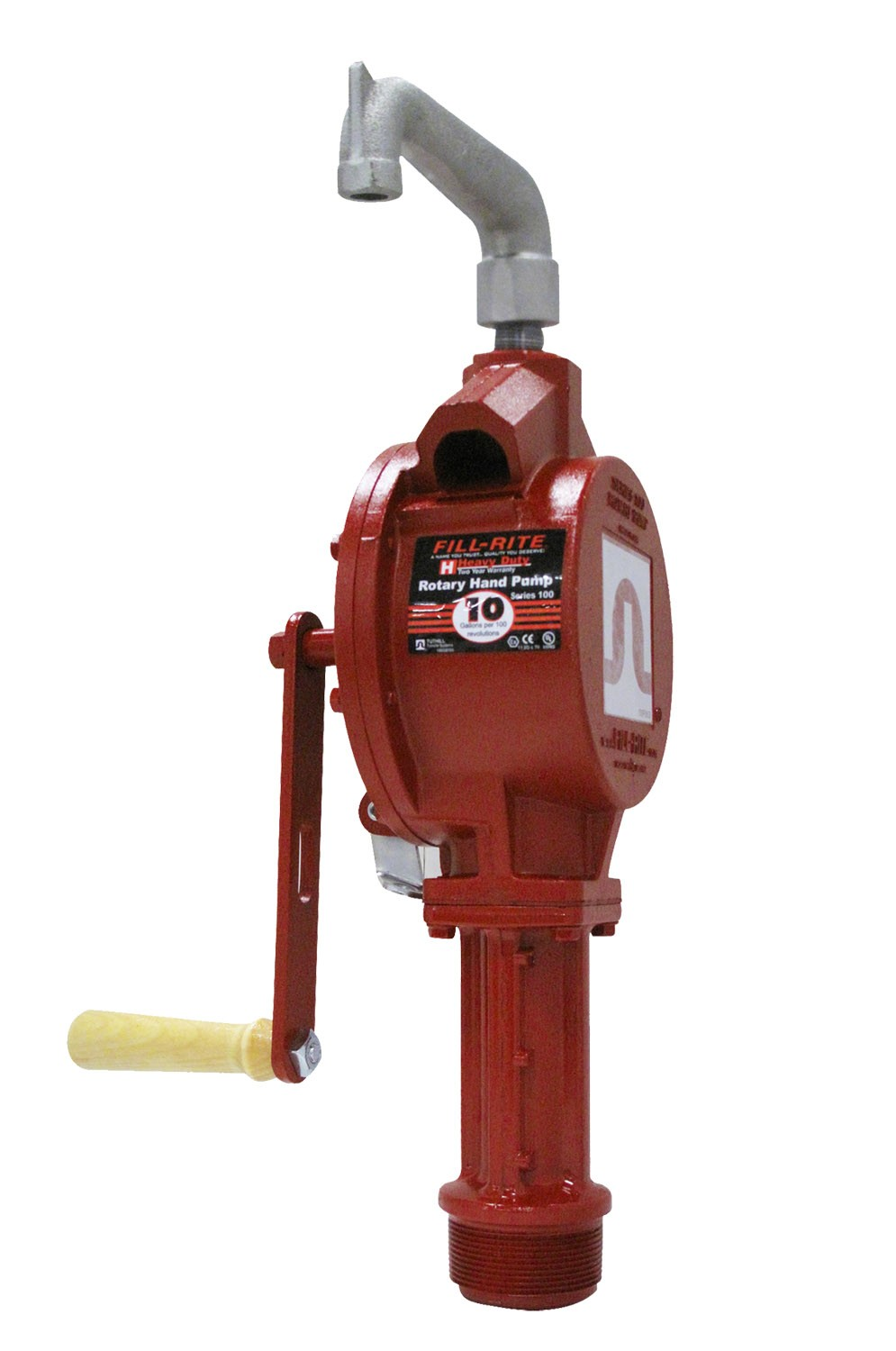 Fill-Rite Rotary Hand Gas Pump, Telescoping Steel Suction Pipe, Pail Spout