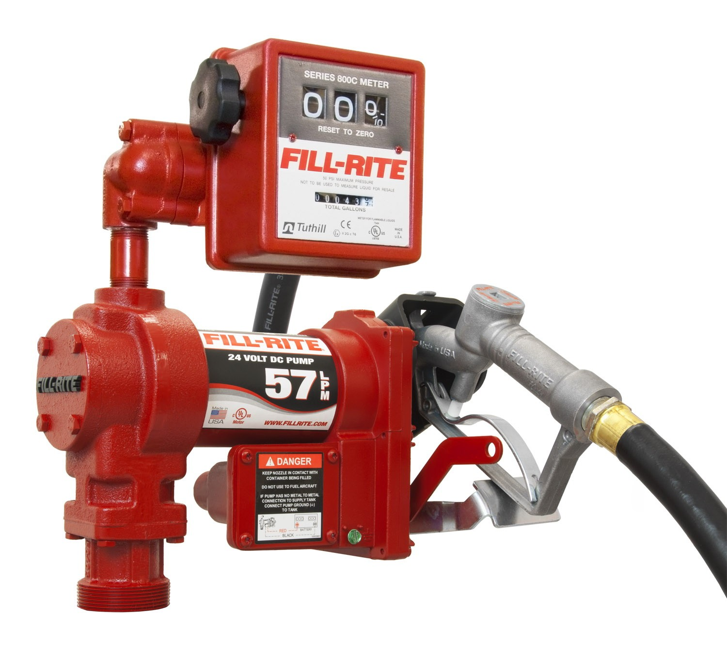 Fill-Rite FR2411G 24 Volt DC Pump with 807C Mechanical Meter (15 GPM)
