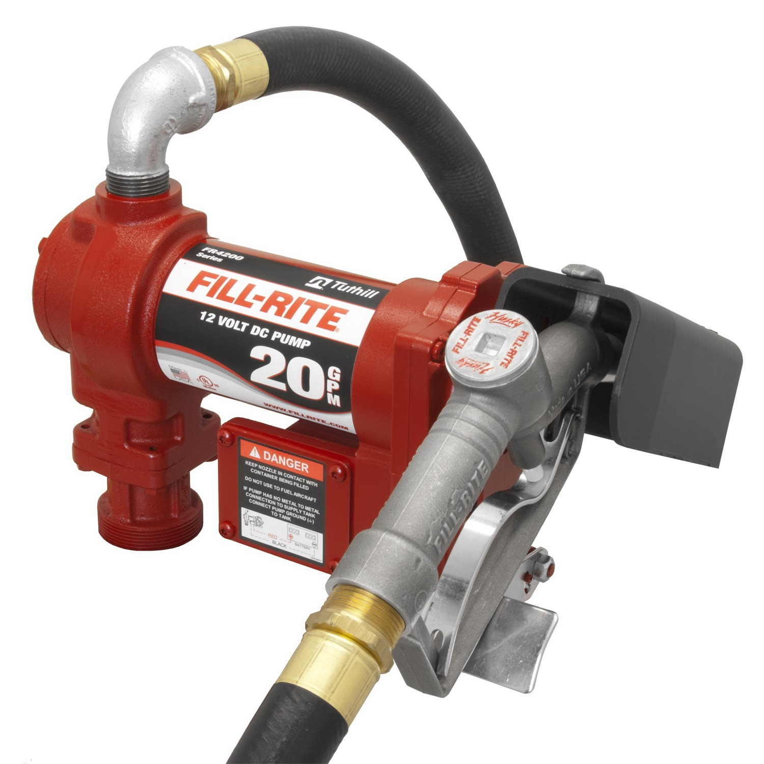 "Fill-Rite FR4210G High Flow Fuel Transfer Pump with 1"" Manual Nozzle (20 GPM)"