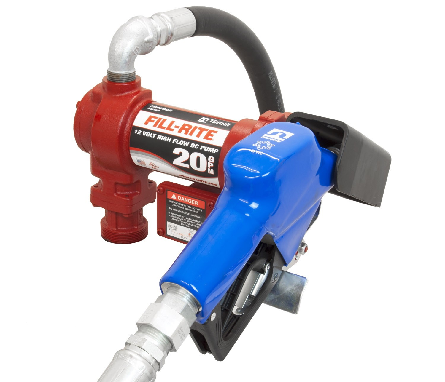 "Fill-Rite FR4210GARC 12V DC High Flow Arctic Pump w/Swivel w/1"" Automatic Nozzle (20 GPM)"