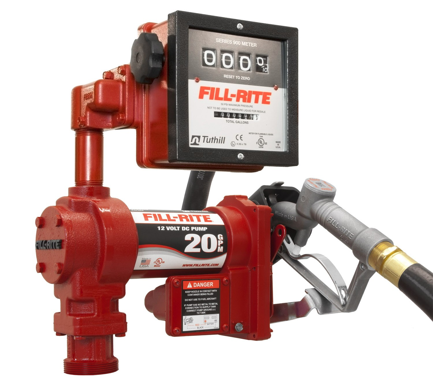 Fill-Rite FR4211G Hi-Flow Transfer Pump w/ 901 Meter and Manual Nozzle (19 GPM)