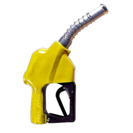 "OPW 7HB-0900 1"" Yellow Automatic Shut-Off Nozzle w/ Spout Ring (No Pressure, No Flow Device)"