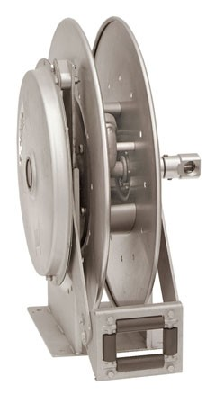 "Hannay N818-23-24JV 3/4"" X 50' Spring Rewind Reels with Hose, Stop & Viton Seals"