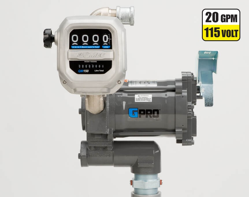 GPI PRO20-115PO/QM150L8N 115 Volt GPRO High-Flow Fuel Transfer Pump w/ Meter (76 LPM)