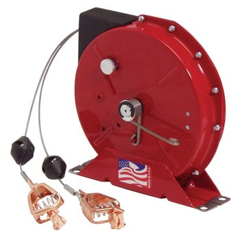 Reelcraft G3050Y 50' Static Discharge Spring Retractable Grounding Reel