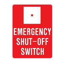 AS-44 Emergency Shut-Off Switch Aluminum Sign